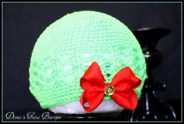 Infant Crochet Beanies /Kufi Hats Green with Red Bow - newborn to 6 months
