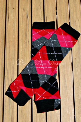 Red/Black Argyle Leg/Arm Warmer