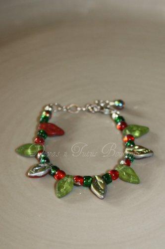 Green, Red & Silver Leaves Bracelet
