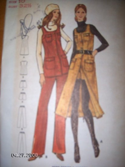 Vintage 1970s 6378 Butterick Pattern Jumper, Tunic, Pants and Shorts Size 10 Uncut