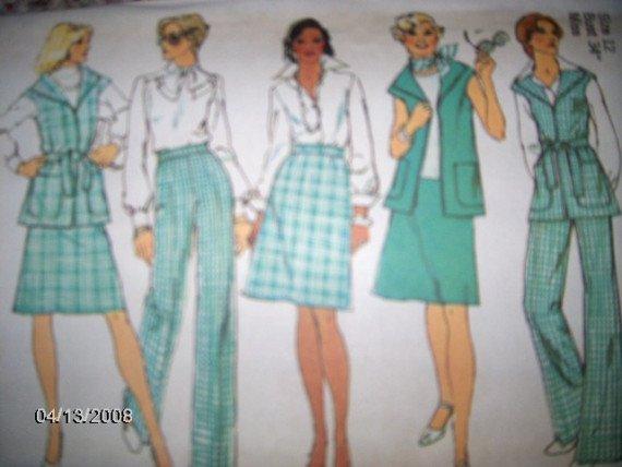 Vintage 1970s Simplicity 6351 Pattern Vest, Skirt and Pants Size 12 Uncut