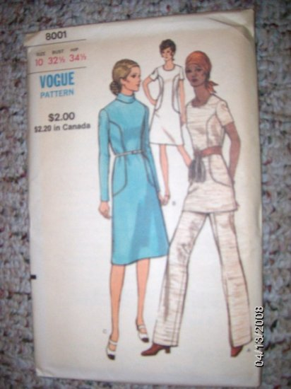 Vintage 1960s Vogue 8001 Pattern, Dress or Top and Pants Size 10 Uncut