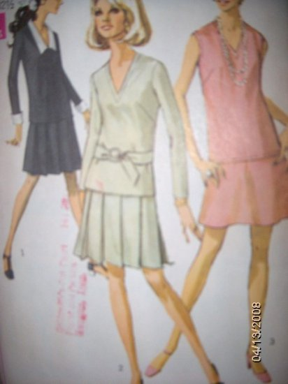Vintage 1960s Simplicity 7747 Pattern 2 Piece Dress  Size 10, Bust 32.5, Uncut