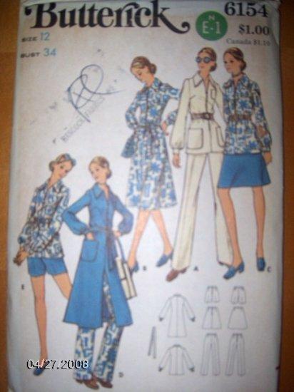 Vintage 1960s 6154 Butterick Pattern,  Dress or Tunic, Skirt, Shorts, Pants Size 12/34 Uncut