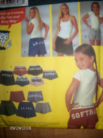Simplicity for Dummies 5729 Shorts & appliques Pattern Size Childs to Misses XS to XL  Uncut