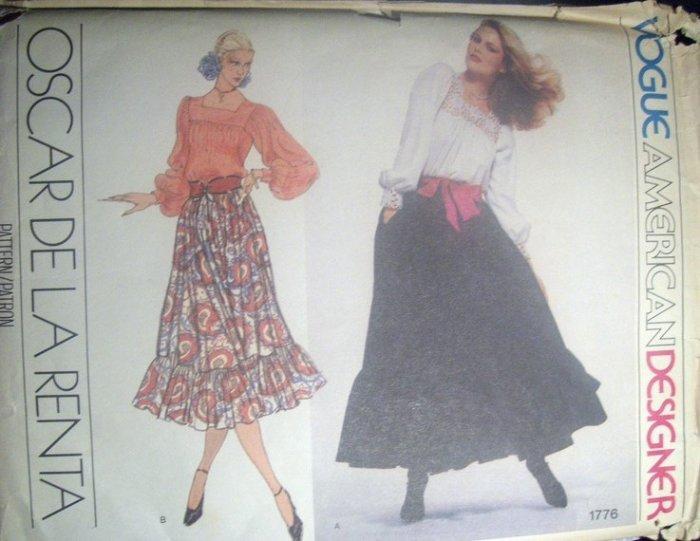 Vintage Vogue 1776 Oscar De La Renta Original Pattern, Blouse and Skirt, Size 12, Bust 34, Uncut
