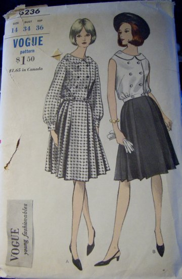 Vintage 1960s Vogue 6236 Pattern OverBlouse and Skirt Size 14, Bust 34, Uncut