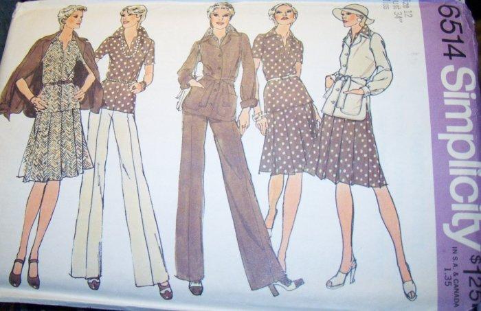 Vintage 1970s Simplicity 6514 Pattern Jacket, Two Piece Dress and Pants Size 12 Bust 34 Uncut