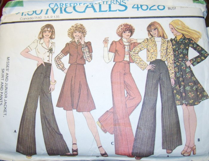 Vintage 1970s McCalls 4628 Pattern, Misses Jacket, Skirt & Bell Bottoms, Size 10, Bust 32.5  Uncut