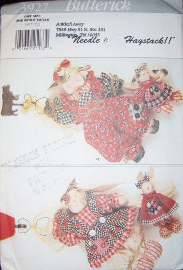 Butterick Pattern 3927, Hanging Cow, Bunny and Babies UNCUT