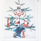 my sister & i patterns  6 Painted Muslin or wood Santa Ornaments 3 to 7 inches