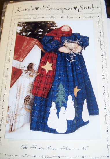 """Kate's Homespun Stitches Cold Hands Warm Heart 14"""" Standing Snowlady Doll"""