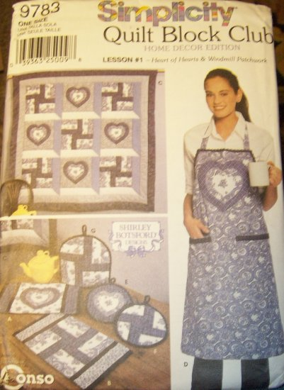 Simplicity 9783 Quilt Block Club #1 Shirley Botsford Designs Pattern Unused Sewing Pattern