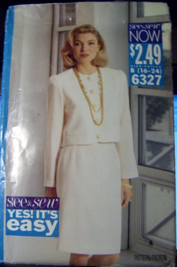 OOP See & Sew Now 6327 Butterick Pattern Size B 16 18 20 22 24 Bust 38- 40�-42 - 44 - 46� UNCUT
