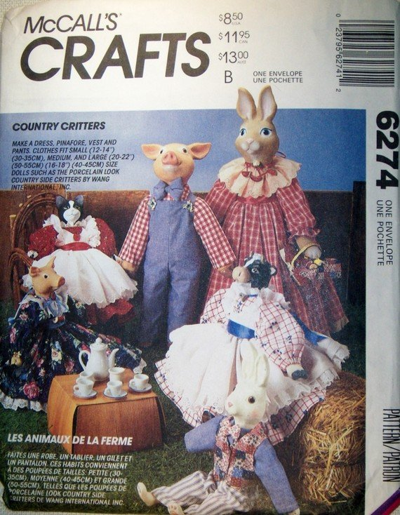McCall's 6274 Country Critters Clothing Sewing Pattern for Dolls,  Size 12 to 22 inches, Unused
