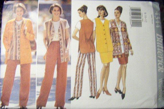 Butterick 4344 Jacket Vest Skirt, Pants Sewing Pattern, Size 8, 10, 12, Bust 31.5, 32.5, 34, UNCUT