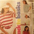 McCalls 5933 Sewing Pattern Easy Basics Misses T Shirt Tank Top Size 6, 8 Uncut