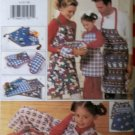 Butterick 4119 Pattern Oven Mit, Placemat, Table Runner, Adult, Kid Apron, Shorts, Pillowcase, UNCUT