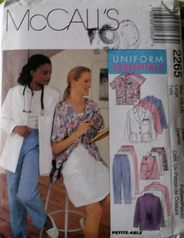 Scrubs Medical Uniform Lab, McCalls 2265 Sewing Pattern  Size 16, 18, UNCUT