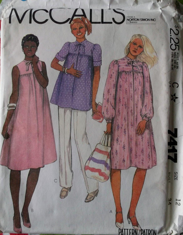 Vintage McCalls 7417 Misses Maternity Dress Top Pants, size 12, Bust 34, UNCUT