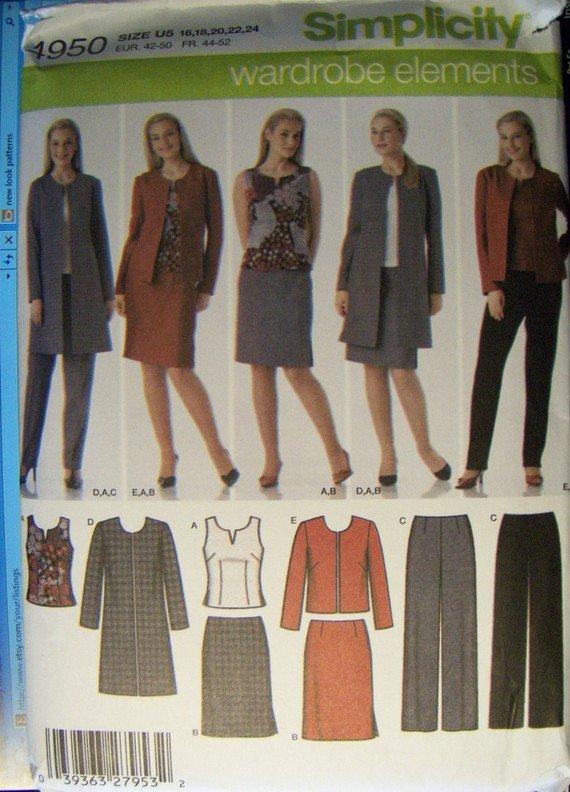 Simplicity 4950 Pattern Misses  Petite Pant Skirt Top Jacket, Size 16 18 20 22 24,, UNCUT
