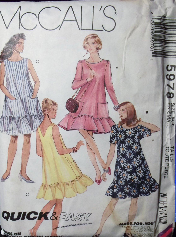 McCall's 5978 Pattern, Misses' Dress, size 6 8, UNCUT