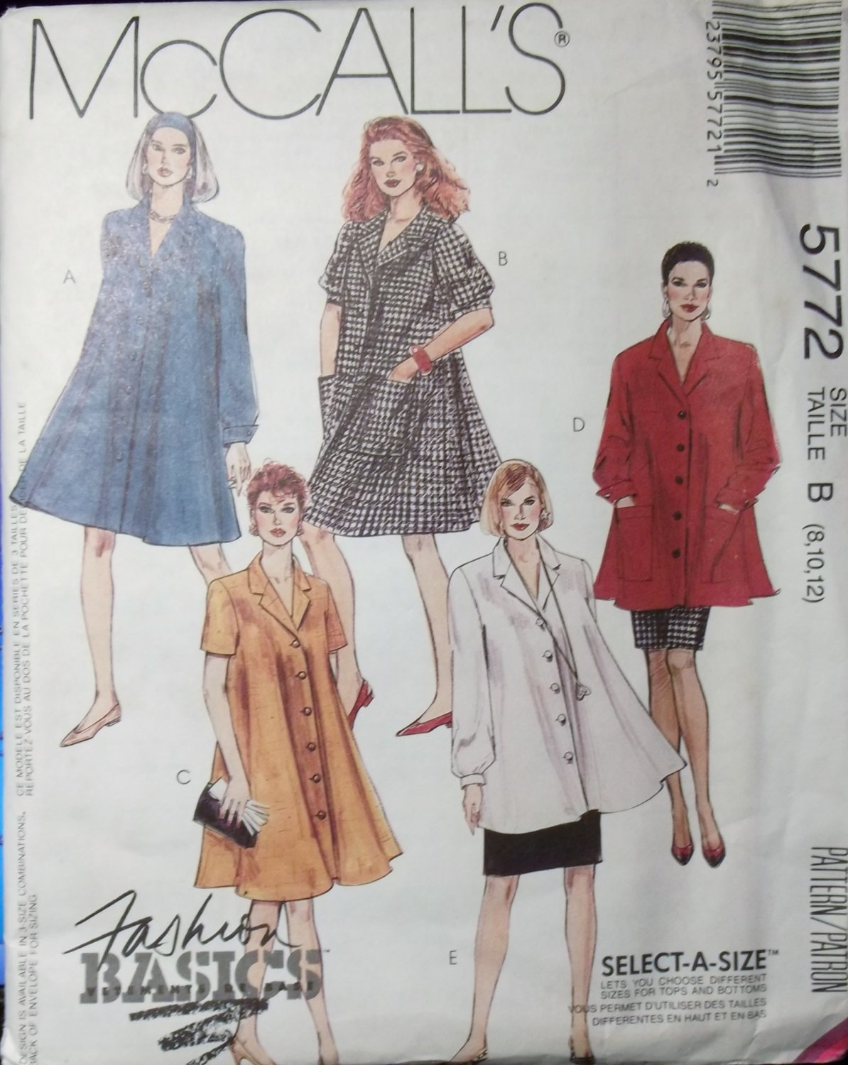 OOP Mccall's 5772 Pattern, Misses Tent Dress or Top and Skirt, Size 8 10 12,  UNCUT