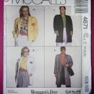 Vintage Easy McCalls 4671 Pattern, Misses Unlined Jacket, Size 10 12 14, UNCUT