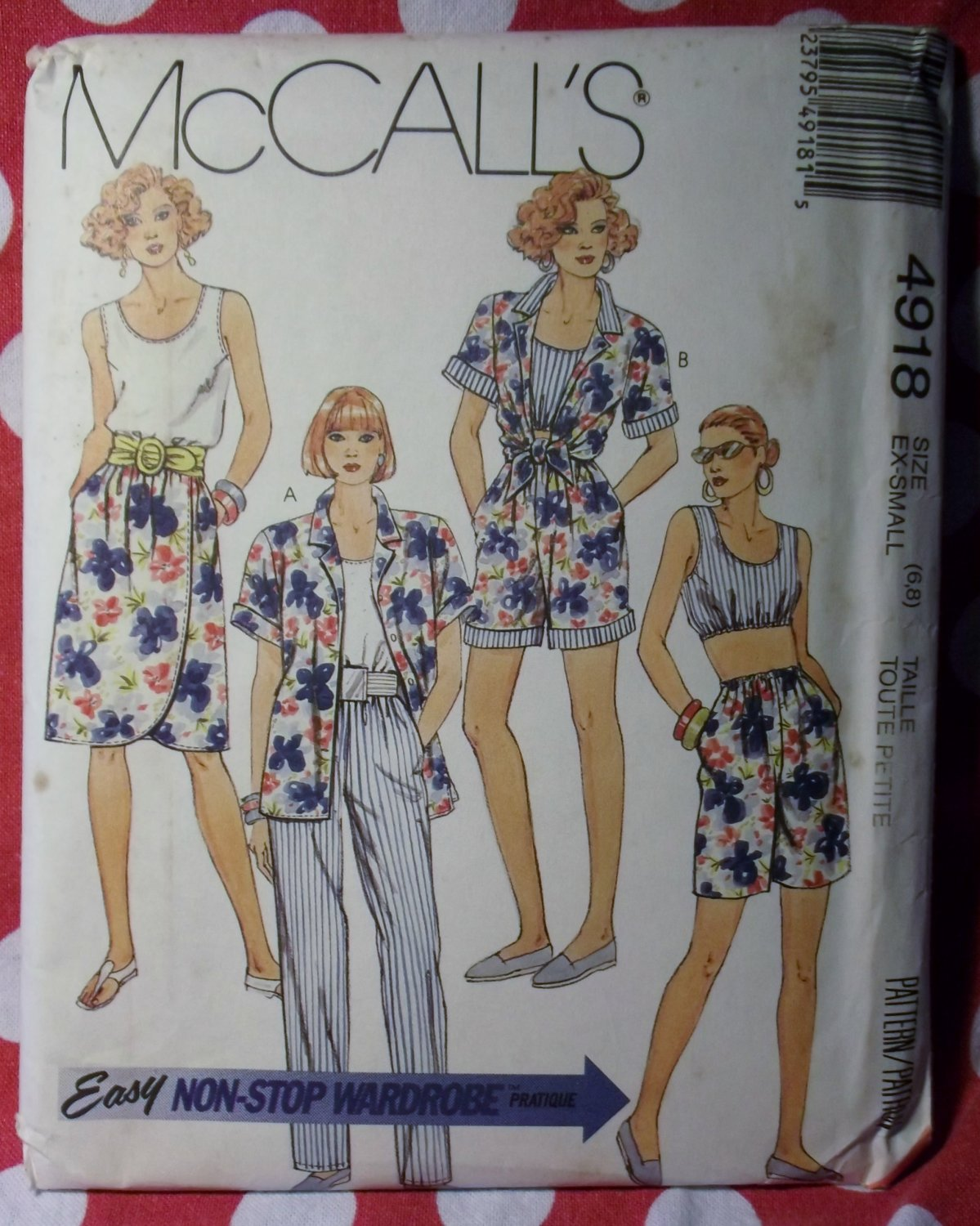 Vintage Easy McCalls 4918 Pattern, Camp Shirt Tank Tops Mock Wrap Skirt Pants Shorts, Sz 6 8, UNCUT