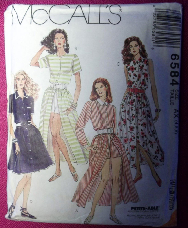 McCalls 6584 Pattern, Misses Petite Dress Shorts, Size 4 6 8, Uncut