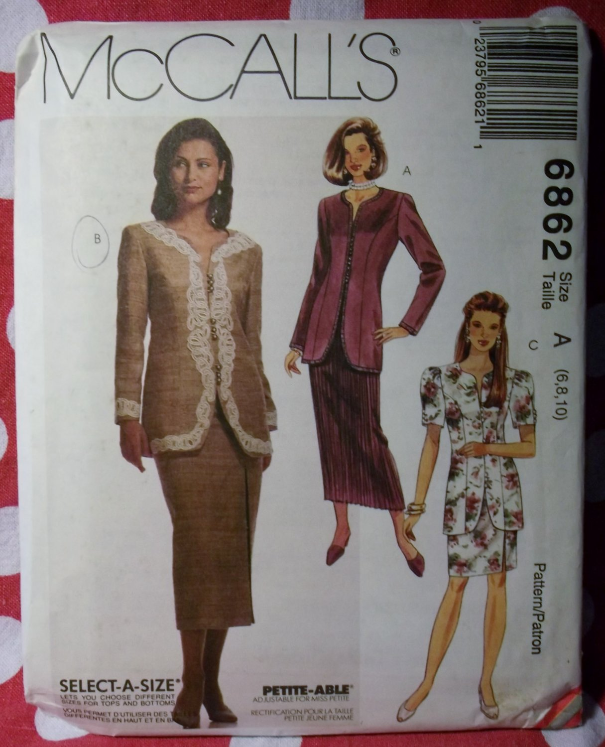 McCall's 6862 Pattern Misses Petite Jacket & Pleated or Slim Skirt, Size 6 8 10, UNCUT