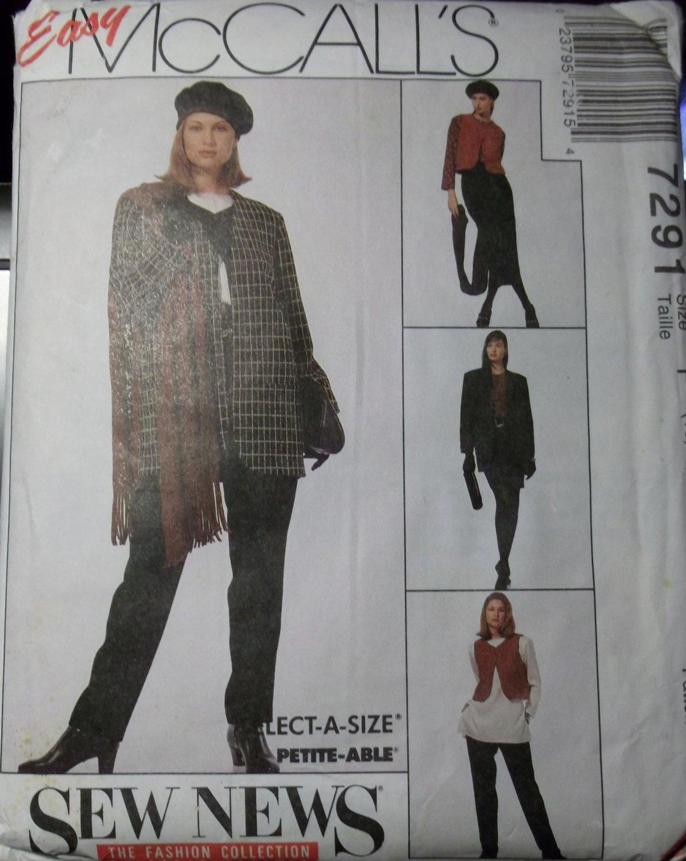Easy McCalls 7291 Pattern Jacket Vest Tunic Skirt Pants, Size 6 8 10, UNCUT