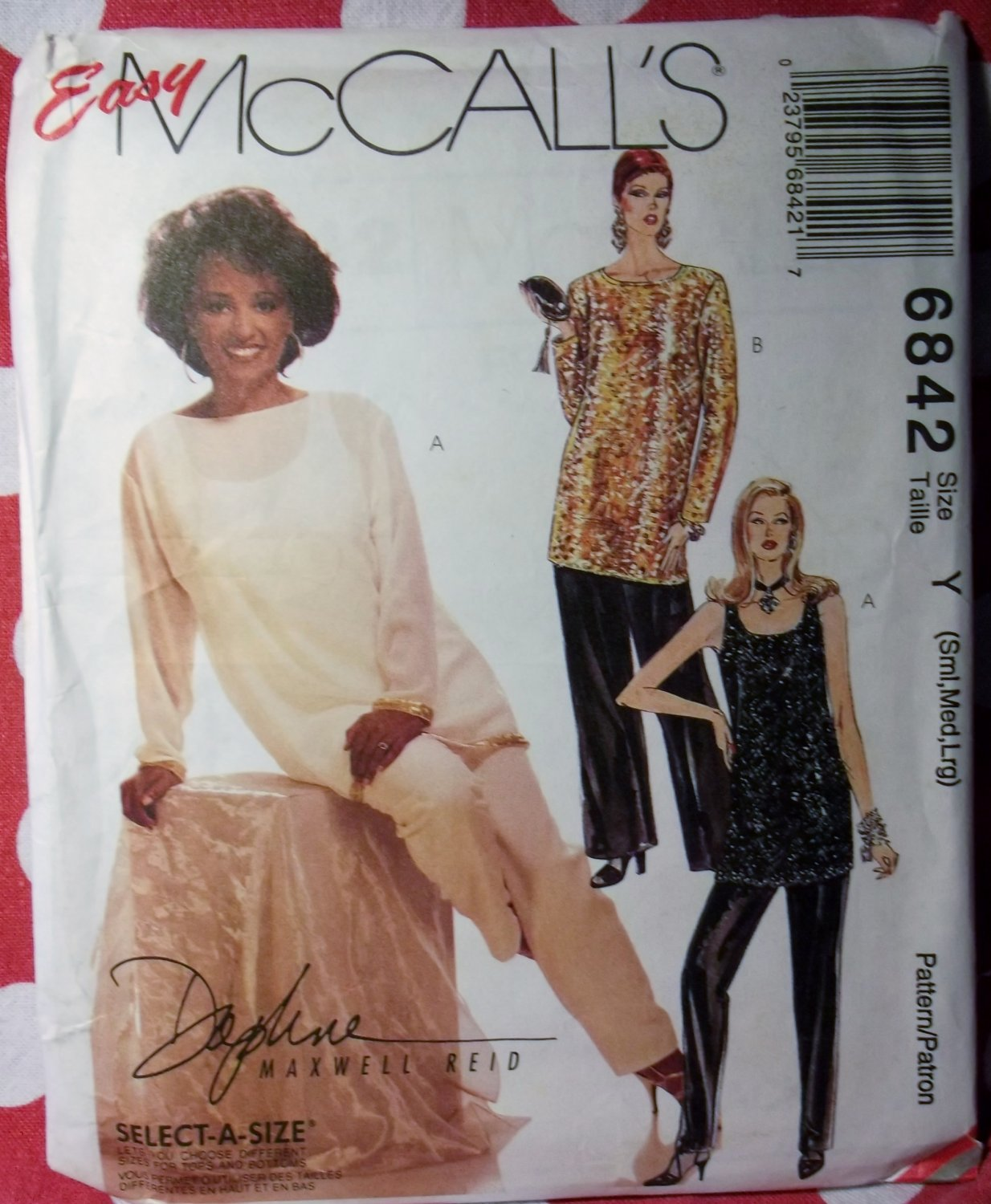 Easy McCall's 6842 Pattern, Misses' Tunic, Top, and Pants, Size 8 to 18, UNCUT