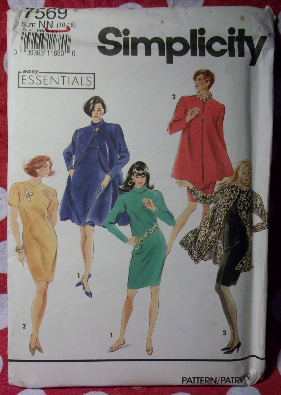 Easy Simplicity 7569 Pattern,  Misses  Petite Coat Dress Sz 10 12 14 16,  UNCUT