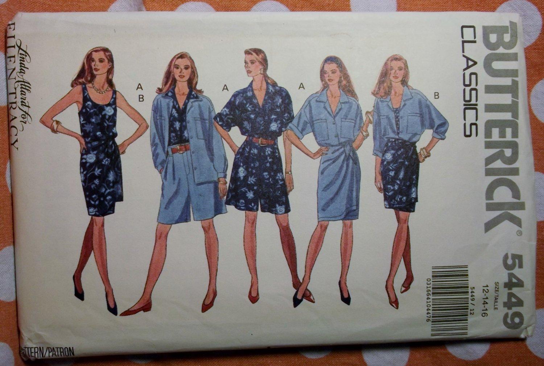 Butterick  5449 Pattern, Misses Shirt Tank Top Double Wrap Skirt & Shorts, Sz 12 14 16, UNCUT