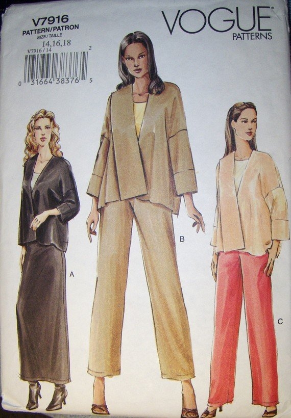 Reserved for Cate    Easy Vogue Pattern V7916, , Size 14, 16, 18, Bust 36, 38, 40, UNCUT