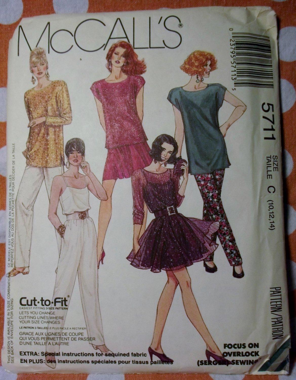 Vintage McCalls 5711 Sewing Pattern Misses Top,Camisole,Pants Sz.10 12 14 UNCUT
