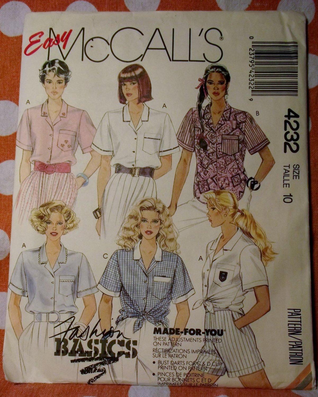 OOP McCalls 4232 Easy Pattern, Misses Tie-Front Shirt-Blouse, Size 10, UNCUT