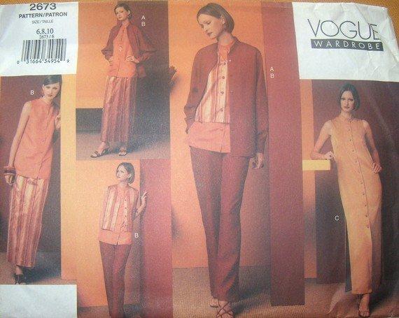 OOP Vogue Wardrobe 2673 Pattern, Misses Shirt Dress Top Pants Vest, Size 6 8 10,  UNCUT