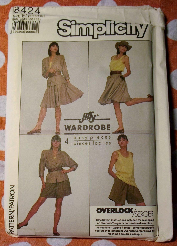 OOP Easy Jiffy Wardrobe Simplicity 8424 Pattern, Misses Shorts Skirt Top Jacket, Sz 6 8 10,  UNCUT
