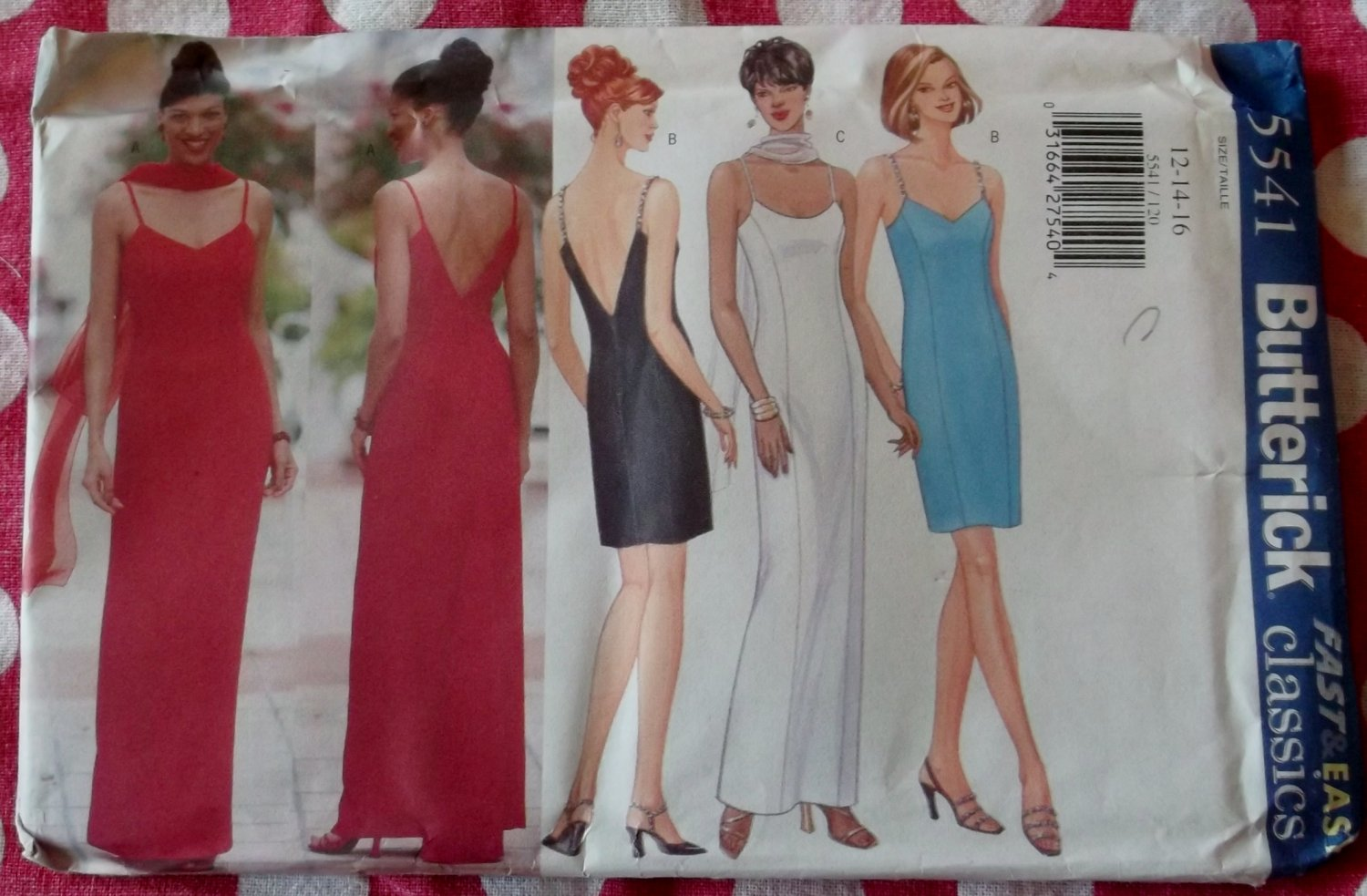 OOP Butterick 5541 Fast & Easy Classics Pattern, Misses Evening Dress & Scarf, Sz 12 14 16, UNCUT