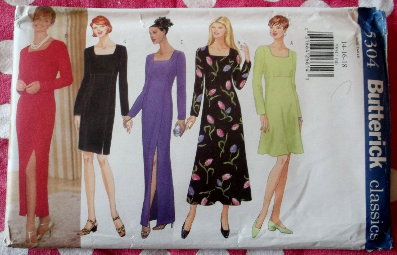 OOP Butterick 5304 Easy Classics Pattern, Misses Petite Dress Gown, Sz 14 16 18, UNCUT