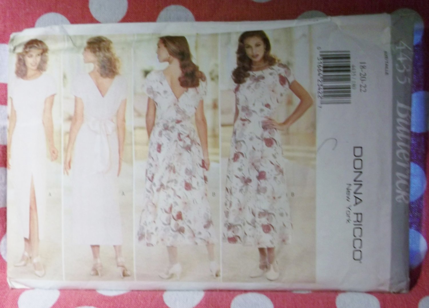 OOP Easy Butterick 4435 Donna Ricco Misses Dress Straight or Flared Skirt, Sz 18 20 22, UNCUT