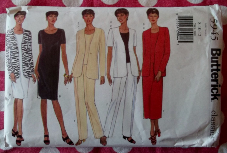 OOP Easy Butterick 5945 Pattern,  Misses Petite Jacket Dress Top Skirt Pants, Sz  8 1012, UNCUT