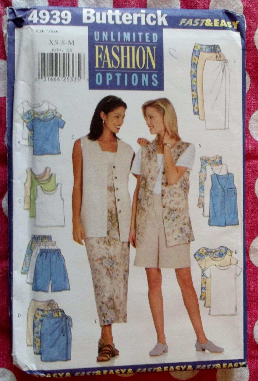 OOP Fast & Easy Butterick 4939 Pattern, Misses Petite Vest Top Tank Top Skirt Shorts, Sz 6-14, UNCUT