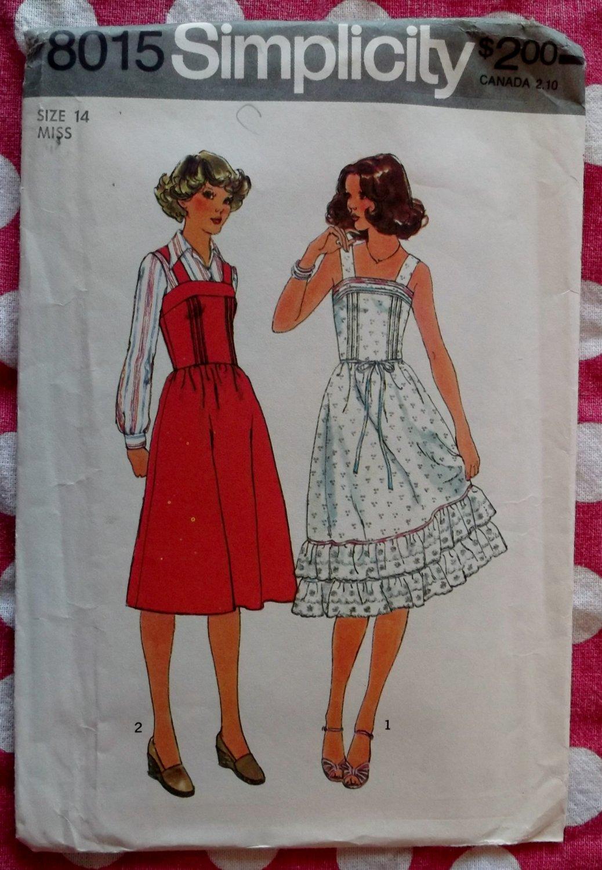 Vintage Simplicity 8015 Sewing Pattern,  Misses Sun Dress or Jumper, Sz 14,  UNCUT