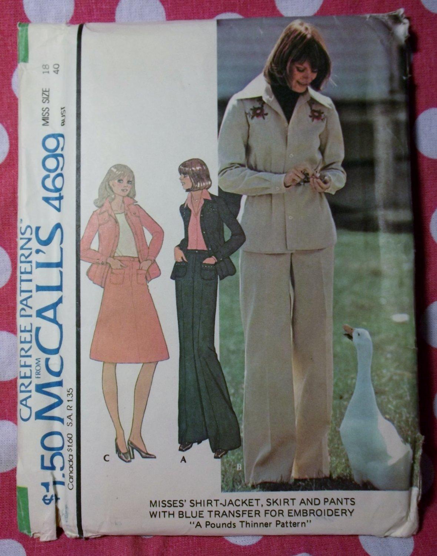 Vintage McCall's 4699 Pattern, Misses Shirt-Jacket Skirt Pants & Transfer, Sz 18, UNCUT