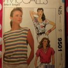 OOP Easy  McCalls 9501 Sewing Pattern, Misses 3 Pullover Tops, Sz 16, UNCUT