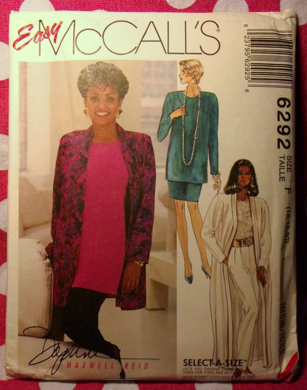 OOP Designer McCALLS 6292 Pattern, Misses Unlined Cardigan Tunic Skirt Pants, Sz 16 18 20, UNCUT