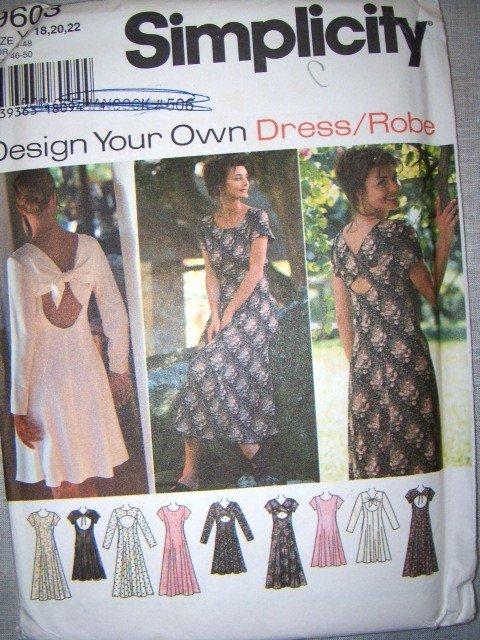 OOP Simplicity Design your own 9603 Pattern, Misses Dress, Size 18, 20, 22, Uncut